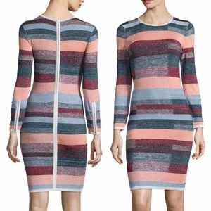 Parker Shimmer Metallic Colorblock Stripe Dress